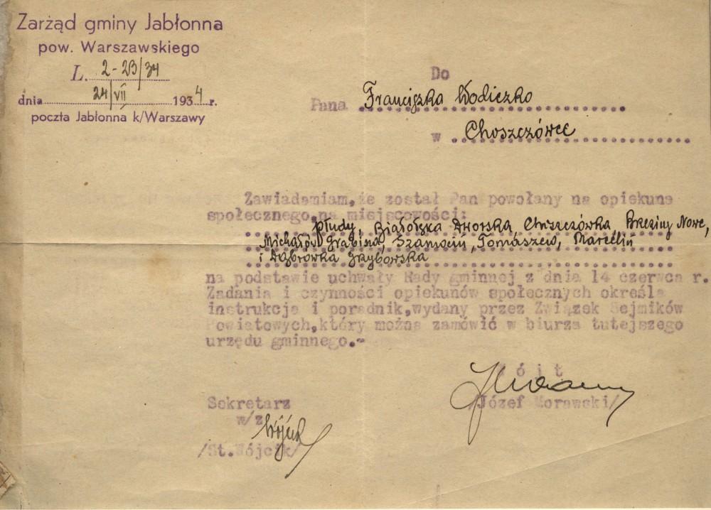 Decyzja o powolaniu na opiekuna spolecznego Franciszka Wodiczko
