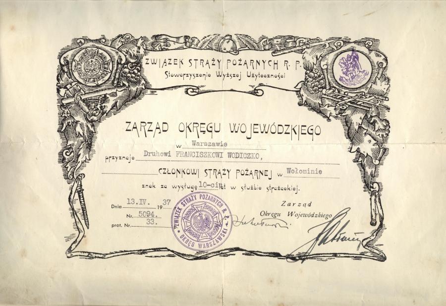 Dyplom Wojewodzkiego Zarzadu Srazy Pozarnych 1937 r