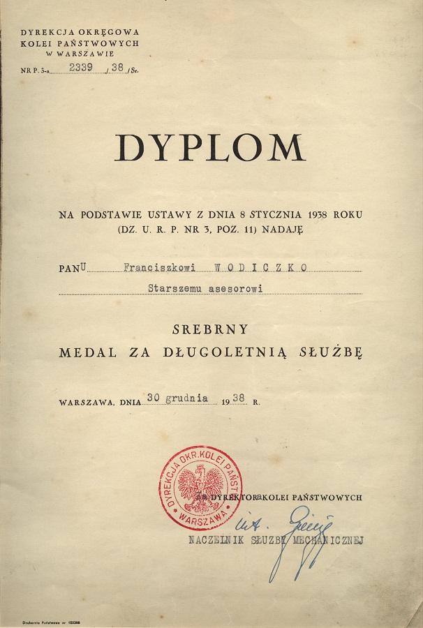 Dyplom z dlugoletnia słuzbe 1938