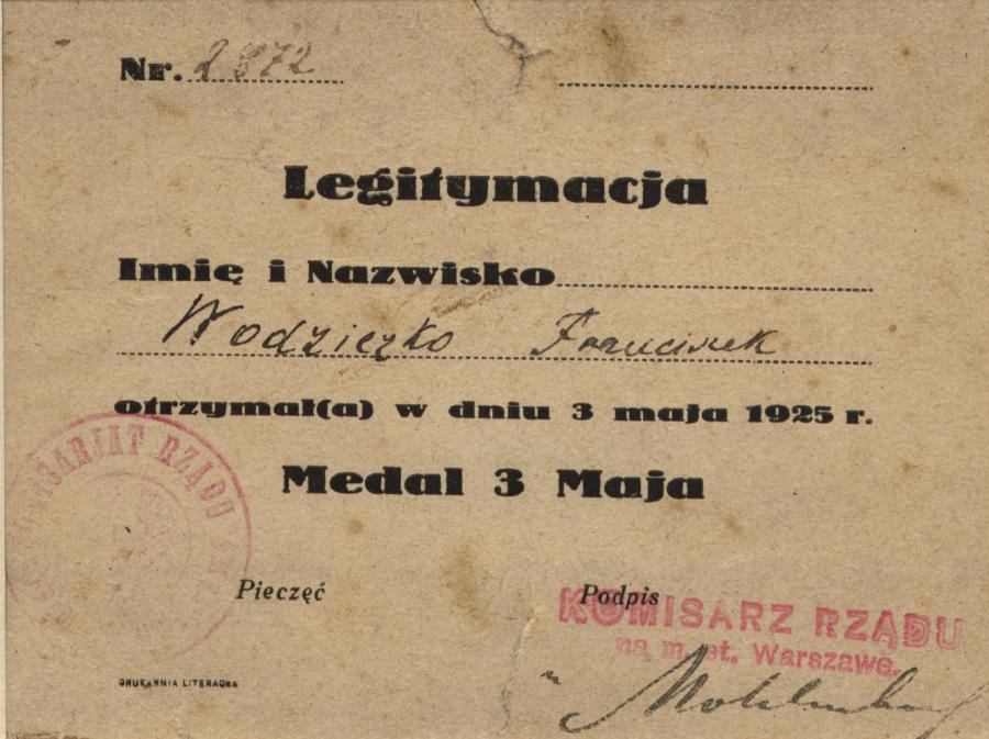 Legitymacja nadania Medalu 3 Maja