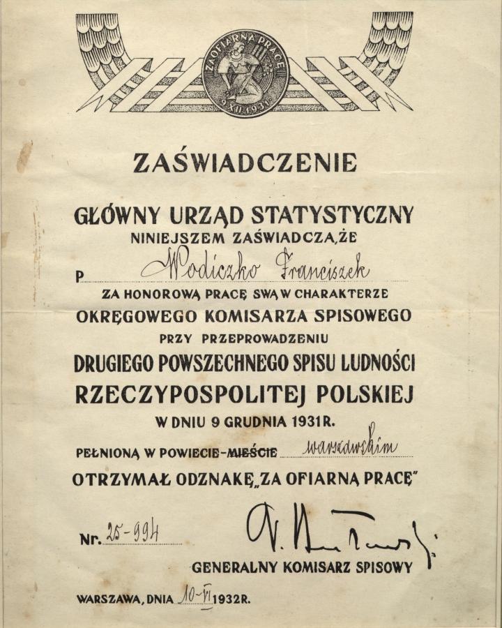 Odznaki Za ofiarna prace  jako Komisarz Spisowy