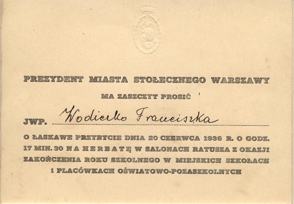 Zaproszenie od Prezydenta Miasta Stolecznego Warszawa