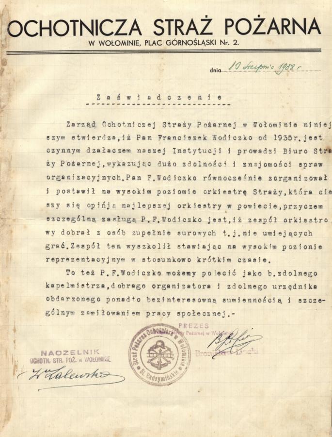 Zaswiadczenie  Ochotniczej Strazy Pozarnej w Wolominie 1938 r