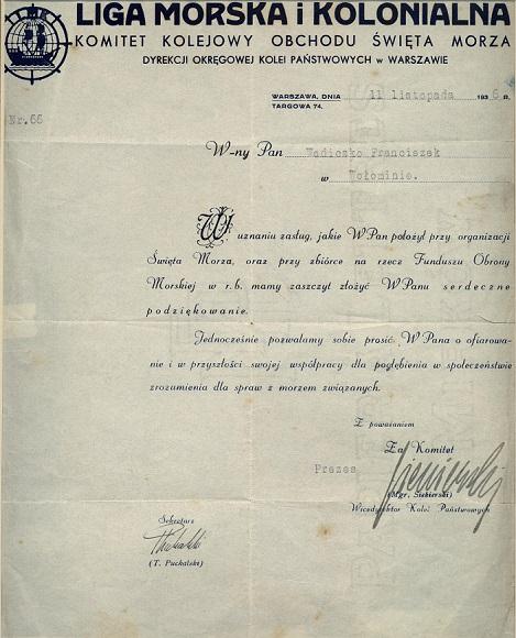 Podziękowanie Ligi Morskiej i Kolonialnej za pomoc w organizacji obchodów Święta Morza 1936 r